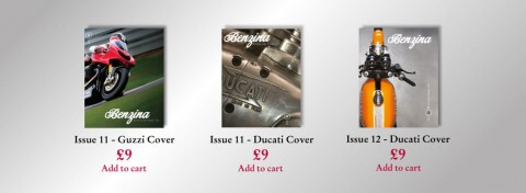 This is a detail shot showing covers of the Benzina magazines from the Benzina e-commerce website.
