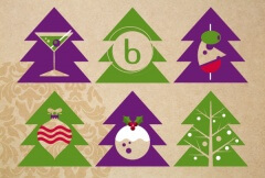 Series of green and purple Christmas tree icons.
