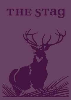 Purple woodcut illustration of stag