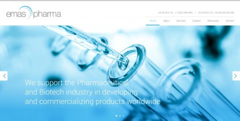Website homepage featuring blue-tone image of test tubes