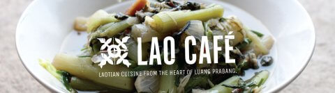 Lao Cafe logo with bowl of pad thai background