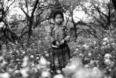 Vintage-style, black and white image of a girl in a meadow