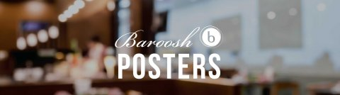Page title of Baroosh Posters with blurred restaurant interior image in background