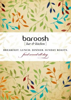 Baroosh winter menu cover with leaf illustration