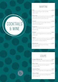 Jade polka dot cocktails and wine menu design