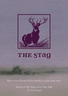 Mauve watercolour menu design with a wood-cut illustration of a stag as a logo for The Stag
