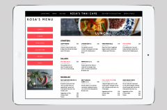 Lunch menu page from website